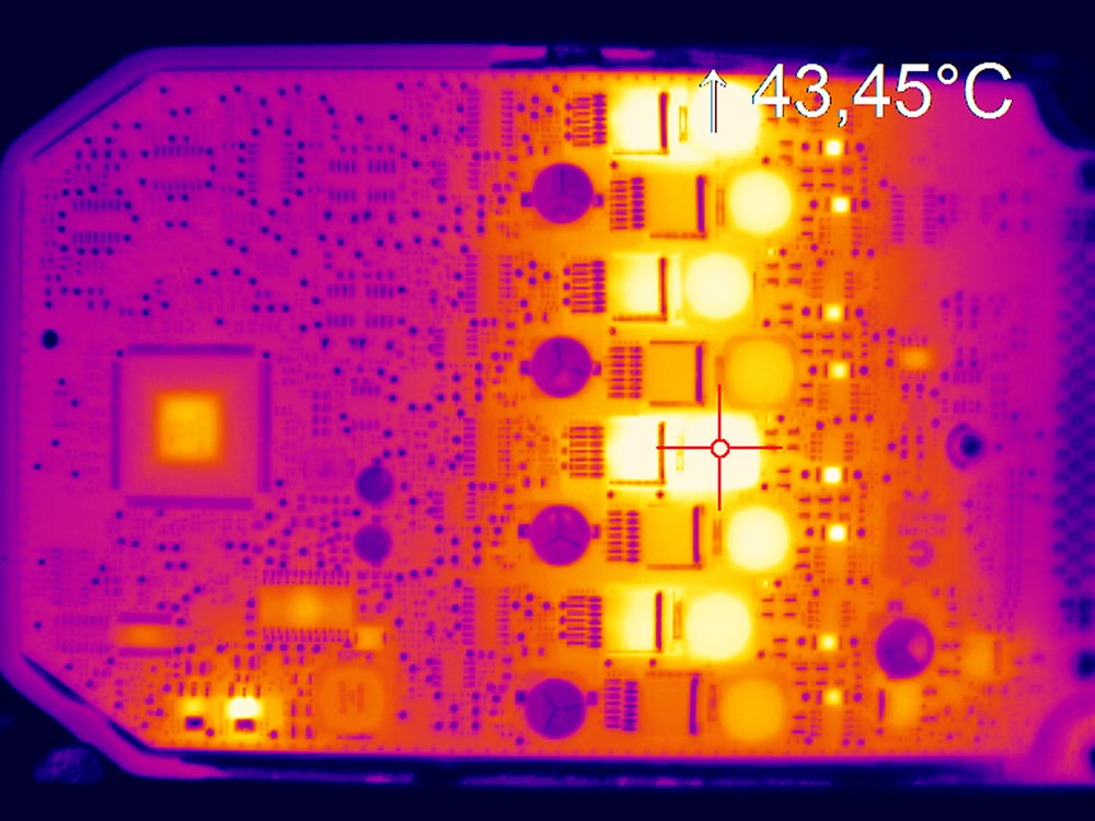 Thermal image PCB with IR camera optris PI 640