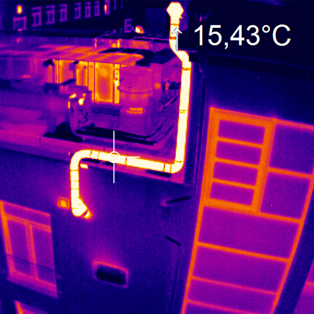 Thermal image of building with IR camera optris PI LightWeight